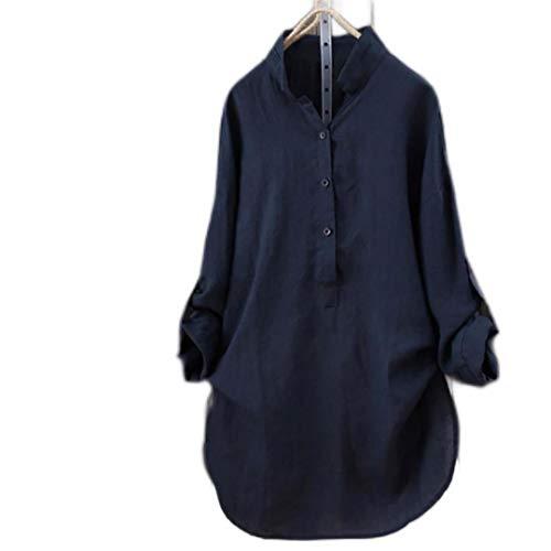 New Women Tops Blouses Autumn Loose Button Long Sleeve Long Shirt Dress Blouse Plus Size Casual Solid Cotton Tunic Tops Blusas #