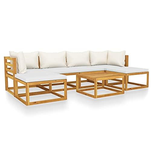 vidaXL Madera Maciza de Acacia Muebles de Jardín 7 Piezas Cojines Mobiliario Terraza Exterior Hogar Sofá Asiento Mesa Suave con Respaldo Crema