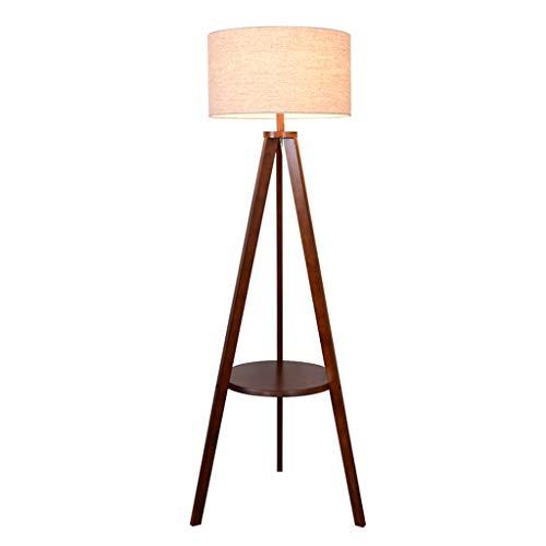 Lampes de chevet Lampadaire Lampadaire en Bois Massif Chambre À Coucher Salon Canapé Lampadaire Simple Trépied Moderne Moderne Lampe De Table Vertical (Color : Brown, Size : 55 * 154cm)