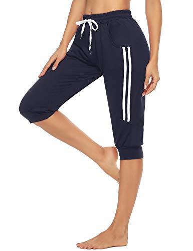 Doaraha Damen Caprihose 3/4 Jogginghose Shorts Trainingshose Elegant Leggings Relaxhose Yogahose mit Kontraststreifen für Sport und Freizeit, Navy Blau, M