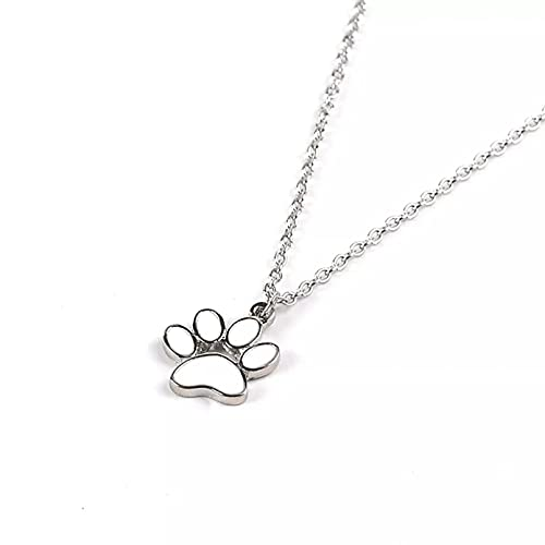 WDBUN Collar Colgante Collar con Forma de corazón de Amor con Estampado de Animales, Collar con Colgante de Pata de Oso para Perro y Mascota, joyería con Estampado de Pata de Animal con Corte Regalo