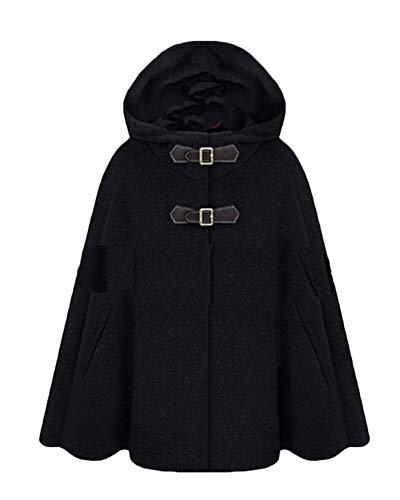 PengGengA Damen Faux Wollmantel Poncho Cape Peacoat Mantel-Mit Kapuze Hübschen Mantels des Straßenart Hübschen Mäntel Jacke Schwarz L