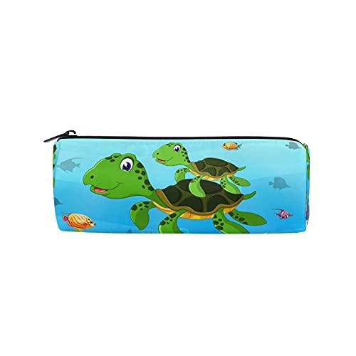 JNlover - Estuche para lápices con diseño de tortuga subacuática con forma de barril de tortuga para niños, oficina