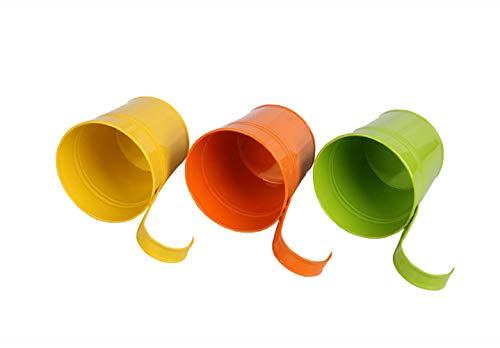 GIOVARA Metall-Blumentopf-Eimer zum Aufhängen, Übertopf mit Abflussloch, mit abnehmbarem Haken, für Garten/Balkon/Wohndekor (10 Stück im Sortiment in 10 Farben) - 9