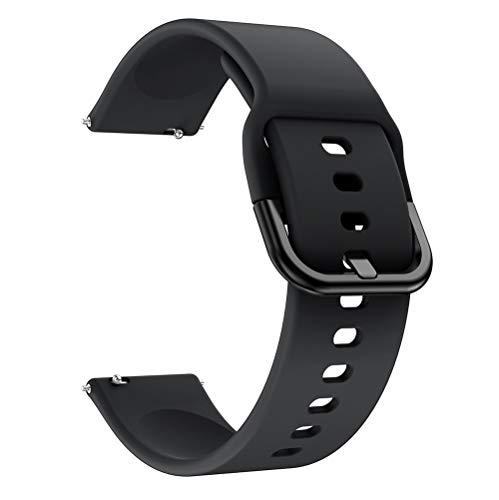 LGFCOK Correa de reloj de 20 mm y 22 mm para Samsung Galaxy Watch Active 2 Correa de repuesto de silicona para pulsera Huawei Watch GT 2E (color de la correa: flor rosa, ancho de la correa: 20 mm)