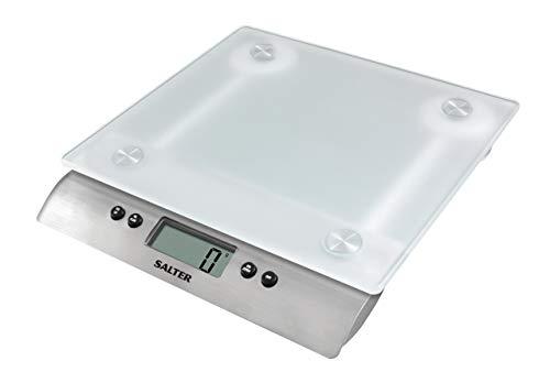SALTER matte Glaswaage, Elektronische Küchenwaage, Akkurate Messergebnisse, Max Traglast bis zu 10kg, Aquatronic Funktion für Flüssigkeiten