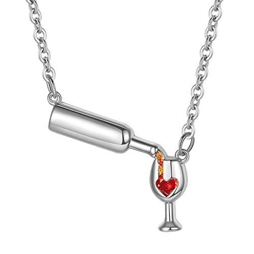 DWQuee ❤️ Art- und Weisewein-hängende Halskette, Wein-Halsketten-Liebes-Wein-Beifall-rotes Emaille-Herz-hängende Halsketten-Schmuck-Geschenk (Silber)