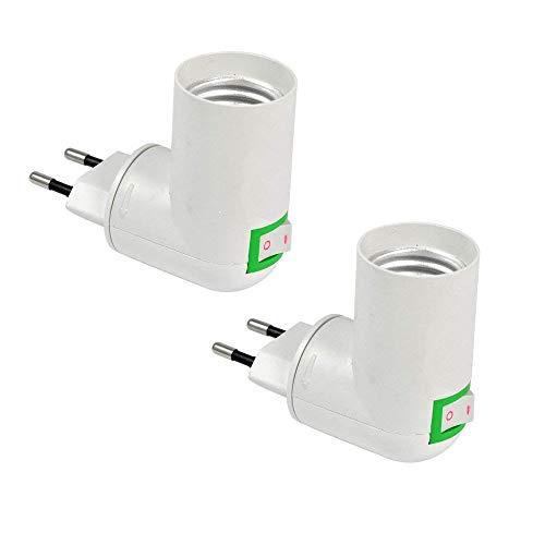 Lampenfassung E27 ohne Kabel, Lampe Steckdose E27 mit Schalter, 360-Grad-Richtungswandleuchte, Adapter für EU-Steckdose und E27-LED, als Mobiles Steckerlampen/Bettleuchte, 2er-Set (ohne Licht)