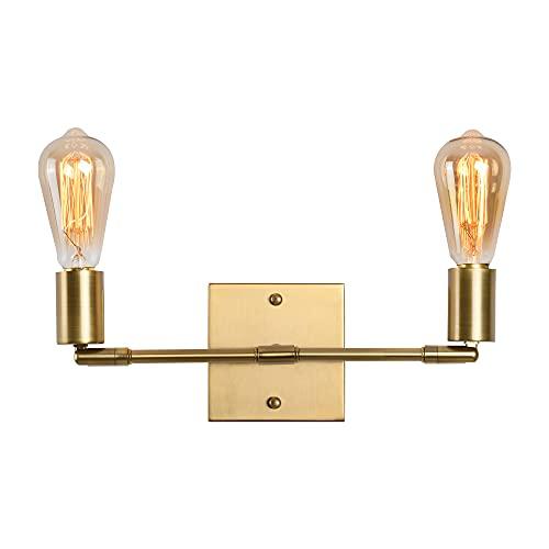Luces de tocador de mediados de siglo 2 luces de latón cepillado moderno apliques de pared para baño, accesorios de pared para interior vintage fácil de instalar (dorado)