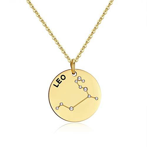 Qings Collar Leo Dorado Constelación Zodíaco Collar de Moda Regalo de Joyería para Novia