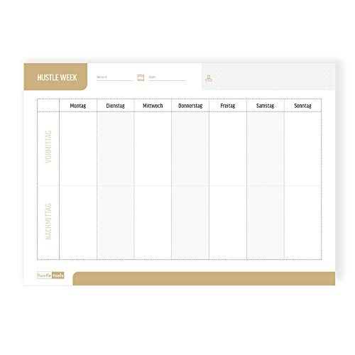 Hustle Tools Wochenplaner Block - DIN A4 Terminplaner mit 50 Blatt - Wochenplan mit extra Notizfeld - Weekly Business Planner - Planer 2020/2021 ohne festes Datum