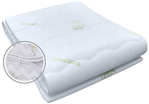 Best For You Matratzenbezug Aloe Vera geeignet für Matratzen 10 cm - 12 cm für Allergiker 3-seitiger Reißverschluss Bezug für Matratzen von 60x120x10/12 bis 200x200x10/12 cm (90 x 200 cm)