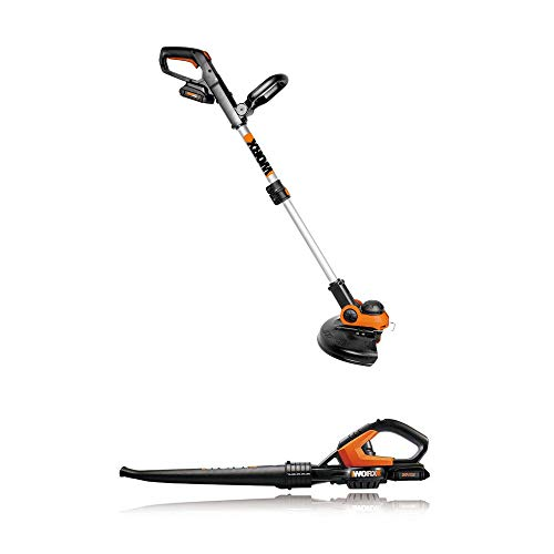 WORX Outdoor Tool Package with 12 Inch 20 Volt Li-Ion Cordless String Trimmer/Edger, Plus Battery & Charger and WORXAIR Lithium Multi-Purpose Leaf Blower/Sweeper/Vacuum