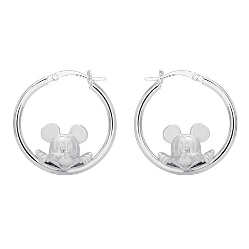 Disney Mickey Mouse Jewelry for Women and Girls, Sterling Silver Mickey Hoop Earrings Mickey's 90th Birthday Anniversary