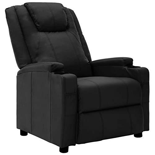 Tidyard Sillones y chaises Longues Sillón reclinable Silla de Masaje de Cuero sintético Negro