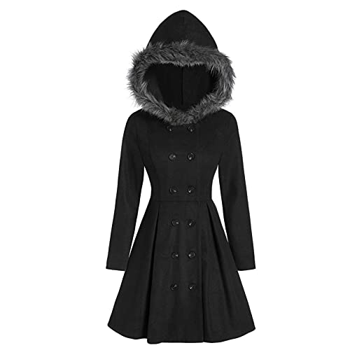 Hooded Coat for Women Winter Fashion Slim Fit Solid Color Tops Cardigan Button Plus Size Coat Blouse Casual Outwear Black