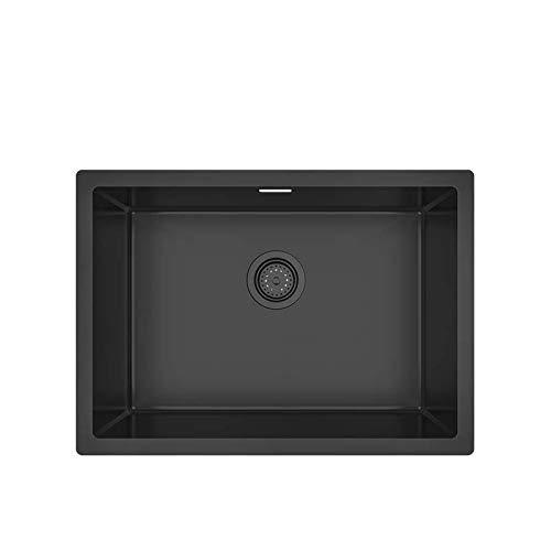 KORVO Undermount Kitchen Sink,Gloss Dark Grey Ceramic Coating with NanoTek 1.2mm Stainless Steel Single Bowl T-304 Stainless Steel Single Bowl Wet Bar , Black - 60 x 43 x 21.5 cm