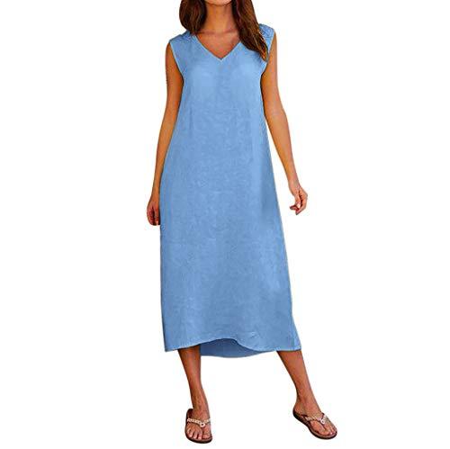 GOKOMO Damen Sommer ärmelloses V-Ausschnitt Baumwolle Leinen Casual Long Maxi Beach Kleid(Blau,XX-Large)