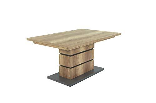 HOMEXPERTS Säulentisch BONNIE / Esstisch in Eiche-Optik hell-braun / Esszimmer-Tisch mit Applikationen und Bodenplatte anthrazit / Küchen-Tisch mit stabilem Standfuß / 140 x 90, H 75 cm