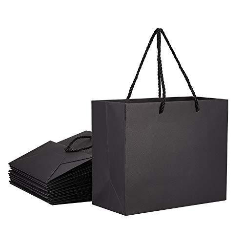 PandaHall - Bolsas de papel kraft rectangulares (20 unidades, 22 x 10 x 18 cm), color negro
