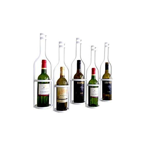 NXYJD Iron & Wine Rack montado en la Pared Estante del Vino del almacenaje del Vino Elegante Moderno con la Etiqueta hacia adelante Diseño (Color : White)