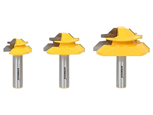 Yonico Router Bits Lock Miter Set 3 Bit 45 Degree 1/2-Inch Shank 15334
