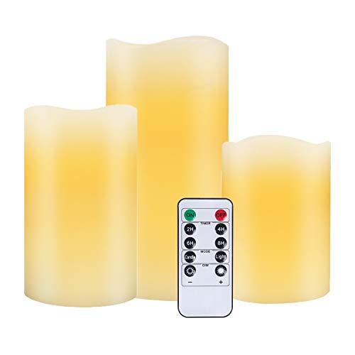 Nancia LED Kerzen,Flammenlose Kerzen 250 Stunden Dekorations-Kerzen-Säulen im 3er Set.Realistisch flackernde LED-Flammen 10-Tasten Fernbedienung mit 24 Stunden Timer-Funktion (Ivory)