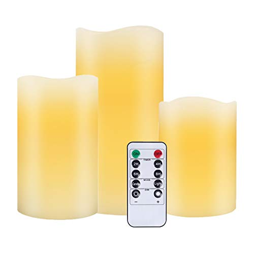 LED Battery Operated Flameless Flickering Electric Candles Real Wax Pillar Lights 10 Key (Ivory,3) Remote Control with 24 Hour Timer Function