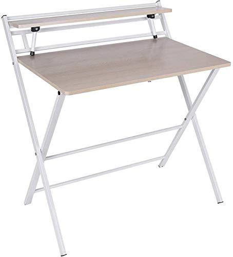 YUYANDE Tavolo Pieghevole Moderno Desk per Uso Domestico Piccolo scrittorio Multifunzionale Multi-Funzionale No-Assembly Scrivania per Studenti Adatto per Small Space Home Office-32,9 Pollici