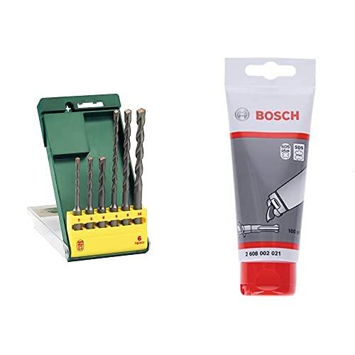Bosch Home and Garden 2607019447 SDS Plus Set Misto 6 Punte, 5 10 mm, 0 W, 0 V + 2608002021 Tubetto di Grasso lubrificante da 100 ml, Blu
