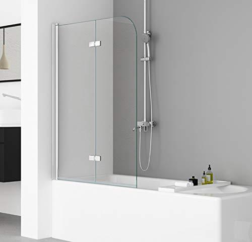 IMPTS 120x140cm Duschwand für Badewanne 2 TLG. Faltwand Duschtrennwand Badewannenaufsatz Duschabtrennung mit 6mm Nano Glas
