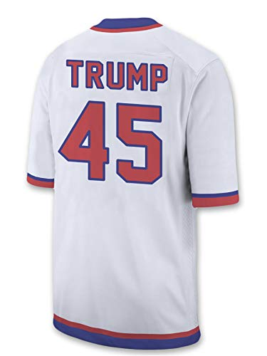USA Trump Jersey - Dry Fit Moisture-Wicking Mesh V-Neck NFL Style Donald Trump 45 Shirt with MAGA Lion (Large, White)