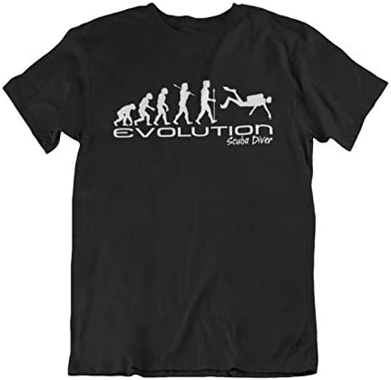 Evolución of a scuba diver Mens Camiseta Para Hombre scuba diving funny unique gift present t shirt Black shirt white print