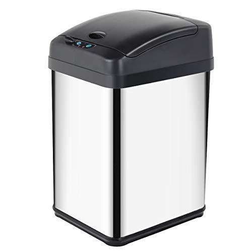Display4top Abfalleimer mit Sensor Mülleimer, Küche Toilette Badezimmer geruchssicherer Abfalleimer, in Edelstahl-Optik (30L)