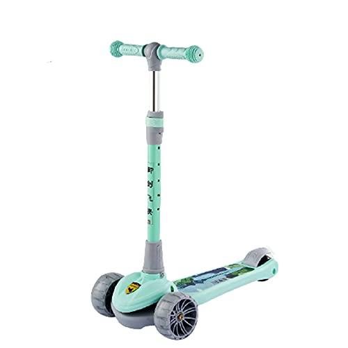 Patinetes Acrobacias para Ninos Ninas Pedal Infantil De Tres Ruedas 2-3-6-8 AñOs Principiante De Un Solo Pie,Green