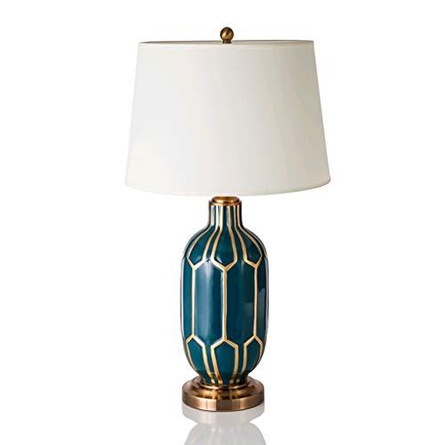 Nieuwe Chinese Grid Garden Blue handgeschilderde keramische lampen Amerikaanse huishoudtextiel woonkamer slaapkamer hotel lamp