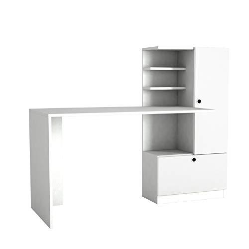Alphamoebel 5047 Merinos Schreibtisch Computertisch Arbeitstisch Bürotisch Laptoptisch, PC Tisch, Holz, Weiß, mit Regal, große Tischplatte, viel Stauraum, Designertisch, 149,5 x 61,8 x 73,8 cm