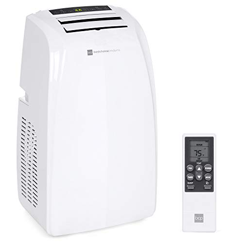 Best Choice Products 14,000 BTU 4-in-1 Portable Air Conditioner Cooling & Heating Unit for Rooms Up to 650 Sq.Ft, Bedroom, Kitchen w/ 4 Casters, Remote Control, Window Vent Kit, LED Display