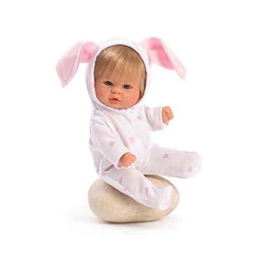 Muñecas Así Bomboncín con Pijama y orejitas. Cuerpo articulado, Pelo Rubio y Ojos Grises. 20 cm.