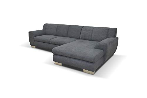 DOMO. collection Nika Eckcouch mit Schlaffunktion in L-Form, Sofa Eckgarnitur, Mikrofaser, grau, 277x156x78 cm