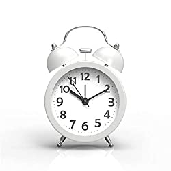 PiLife 3 Mini Non-ticking Vintage Classic Analog Alarm Clock for heavy sleepers with Backlight , Battery Operated Clock, Loud Twin Bell Alarm Clock for Kids(White)
