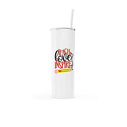 Teach Love Inspire Teacher Appreciation Christmas Gift Water Bottle - 20 ounce stainless steel, white