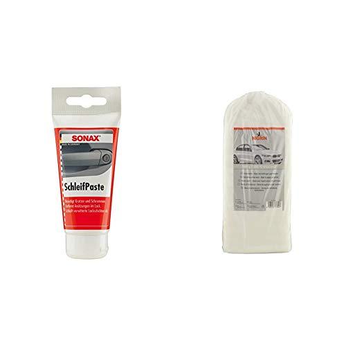SONAX SchleifPaste (75 ml) silikonfrei mit hohem Schleifmittelanteil zum Abschleifen von verwitterten und verkratzten Lackschichten | Art-Nr. 03201000 & NIGRIN 74304 Polierwatte 380 g