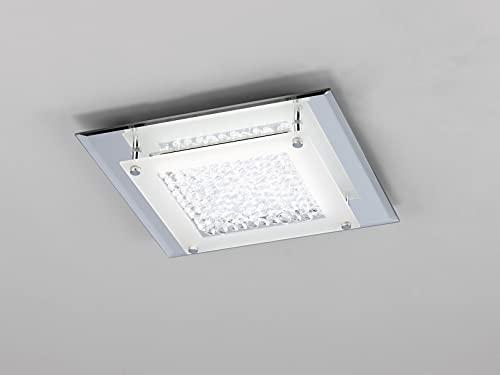 Mantra Iluminación. Modelo CRYSTAL LED. Plafón de techo cuadrado de 28 cm fabricado en espejo y cristal acabado en color cromo