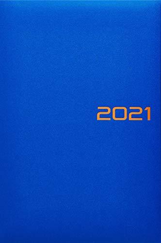 BRUNNEN 1079561031 Buchkalender Modell 795, 1 Seite = 1 Tag, 14,5 x 20,6 cm, Balacron-Einband blau, Kalendarium 2021