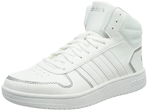 adidas Damen Hoops 2.0 Mid Basketball Shoe, Cloud White/Cloud White/Silver Metallic, 38 EU