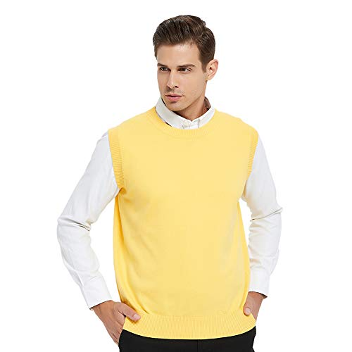 TOPTIE Men's Business Sweater Vest Cotton Jumper Top-Yellow-XL
