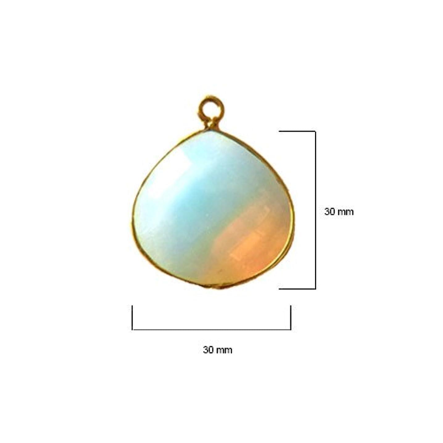 2 Pcs Opalite Heart Beads 30mm 24K Gold Vermeil by BESTINBEADS, Opalite Hydro Quartz Heart Pendant Bezel Gemstone Connectors Over 925 Sterling Silver Bezel Jewelry Making Supplies