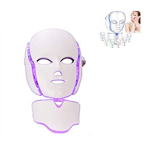 QLHYSYS Ledmasker met 7-kleurige lichteffecten, anti-aging, foaming, bad, whitening beauty led-masker met nekcover instrument (paars)