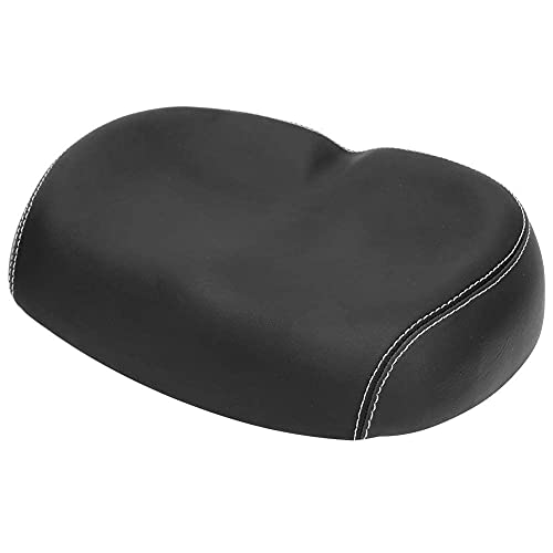 Sillín de Bicicleta ergonómico sin Nariz, cojín de Asiento de Bicicleta de Espuma de Cuero PU, amortiguación Transpirable cómoda y Suave Reemplazo de Asiento de Bicicleta Suave(Negro)